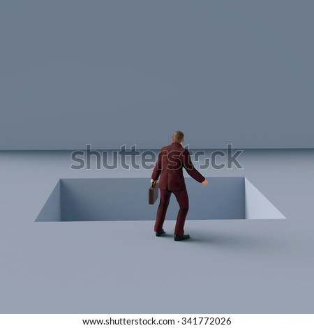 man standing on the edge of pitfall - stock photo