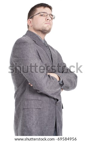 man standing, wearing glasses and posing - stock photo