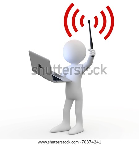 Man standing with laptop and wifi antenna - stock photo