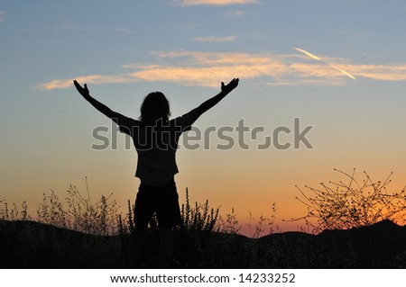 Man stands triumphant at sunset among the silhouettes of tall grasses.