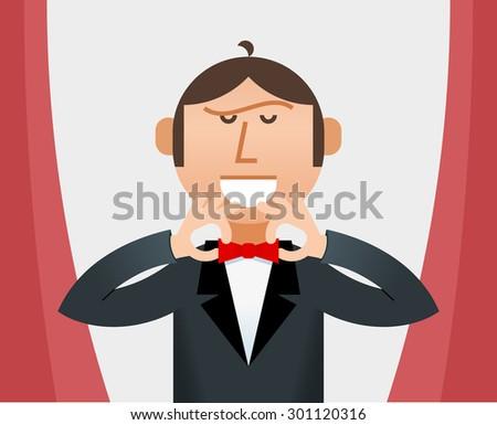 Man Straightening His Tie  - stock photo