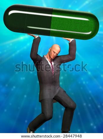 Man strains under large capsule - stock photo