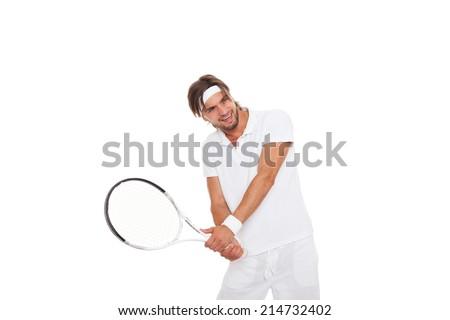 man strike tennis racket isolated over white background - stock photo