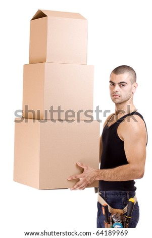 Man struggling while lifting lots of cardboard boxes - moving concept - stock photo