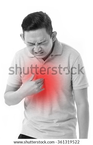 man suffering from acid reflux - stock photo