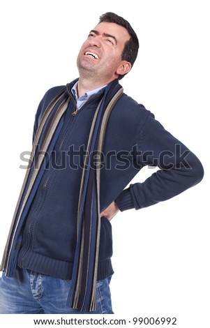man suffering from back pain - stock photo