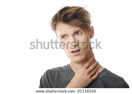 Man suffering from the pain in his throat - stock photo