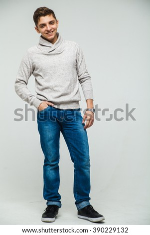 man sweatshirt and jeans white background