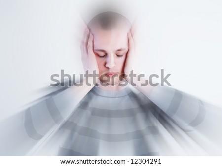 Man takes his head at white background - stock photo