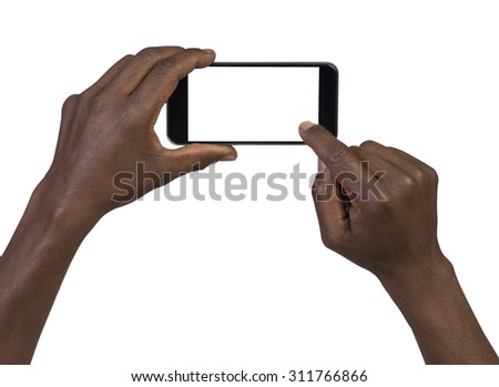 Man taking a picture using a smart phone. Isolated on white - stock photo
