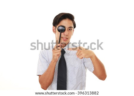 Man taking an eye test