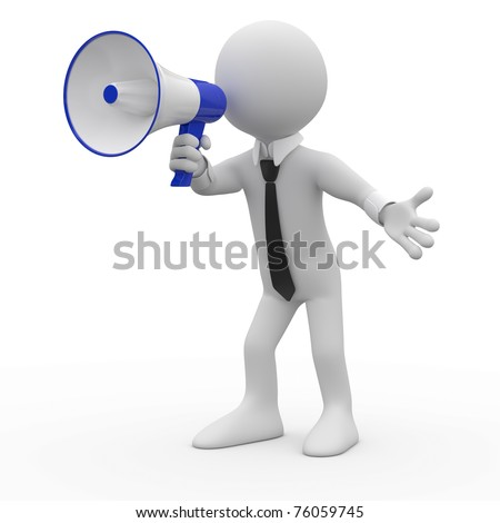 Man talking on a white and blue megaphone - stock photo