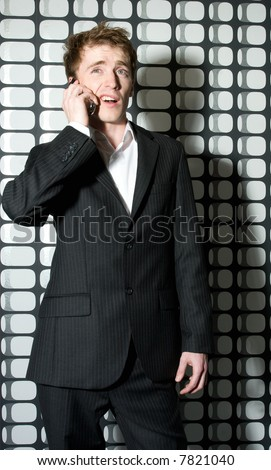 man talking on the phone - stock photo