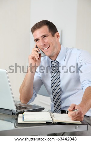 Man talking on the phone in the office - stock photo
