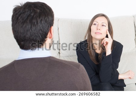 Man talking to woman  - stock photo