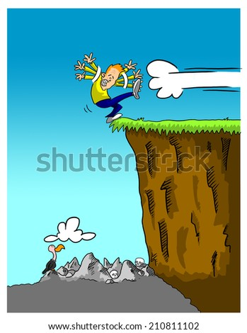 Man teetering over cliff with rocks, skulls and a vulture beneath - stock photo