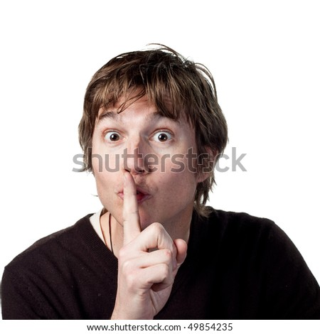 Man tells people to be quiet - stock photo