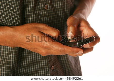 Man texting on isolated background - stock photo