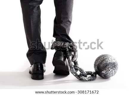 Man that was wearing shackles - stock photo