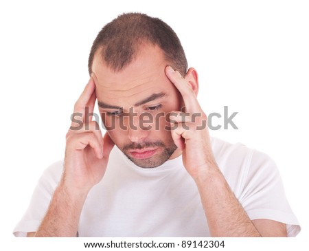 Man thinking about a problem - stock photo