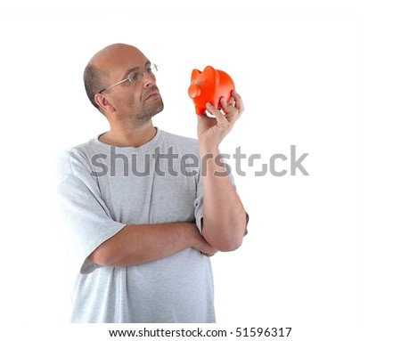 Man thinking about his piggy bank
