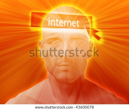 Man thinking about internet clicking,floating over head