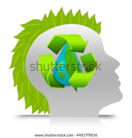 Man Thinking About Recycle and Save Water Concept in Head infographic Isolated in White Background