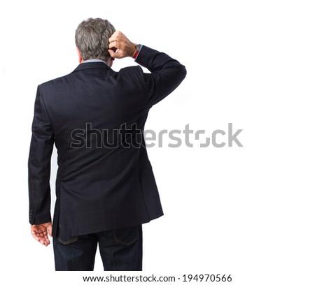 Man thinking back - stock photo
