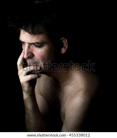 Man thinking problems worried - stock photo