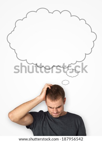 man thinking with a thought bubble with blank background - stock photo