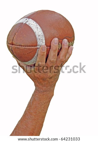 Man throwing football isolated on white - stock photo