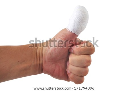 Man thumb bandage from accident. - stock photo