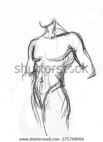Man torso Sketch Pencil drawing - stock photo