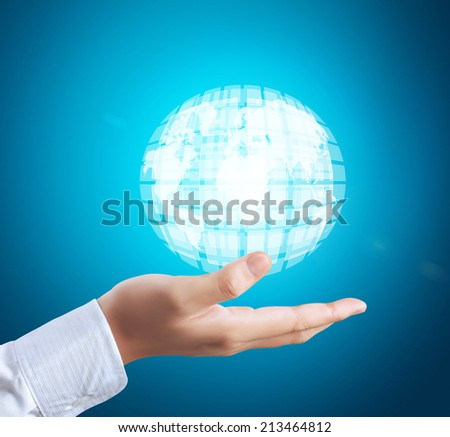 Man touch screen social networking,business