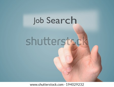 Man touching a job search bar - stock photo