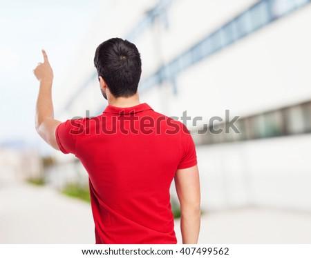man touching screen gesture - stock photo