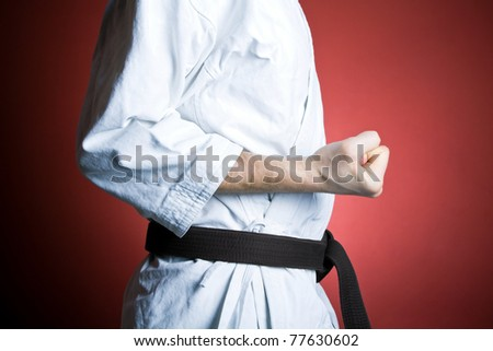 Man training karate, fitness and sport at gym, exercise concept - stock photo