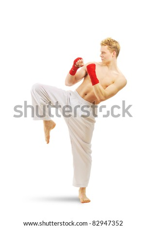 Man training taekwondo Isolated on white background