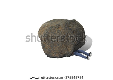 Man Trapped Under Boulder - stock photo