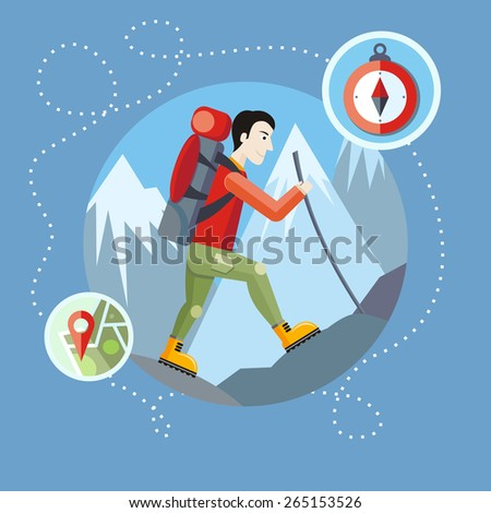 Man traveler with backpack hiking equipment walking in mountains. Mountain tourism concept in cartoon design style. Raster version - stock photo