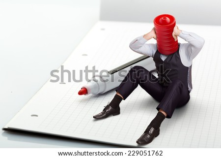 Man tries to solve a problem - stock photo