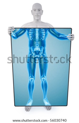 man under the X-rays through the screen. - stock photo