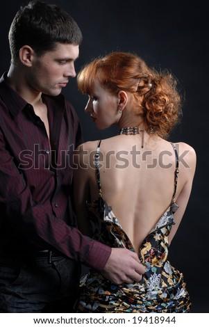 Man undress woman - stock photo