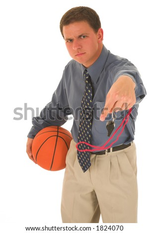 Man upset with basketball and whistle.