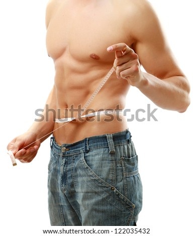 Man use measurement tape, isolated on white background - stock photo