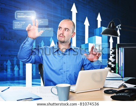 man use virtual screen in office to connect - stock photo