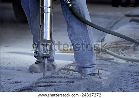 Man using a Jack Hammer - stock photo