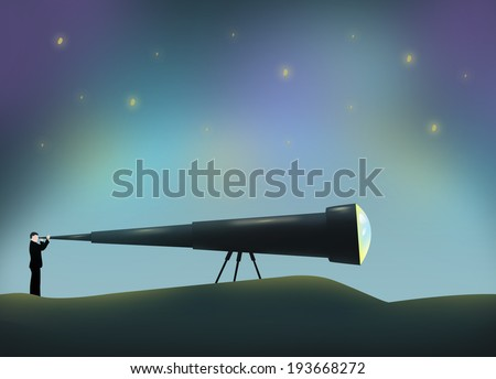 Man using a Long Telescope. Conceptual Illustration. - stock photo