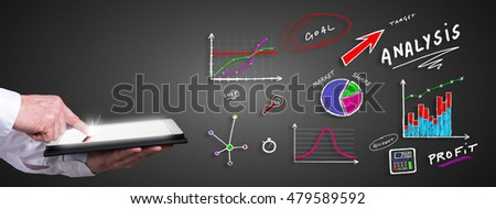 Man using a tablet with analysis concept
