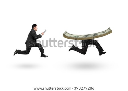 Man using digital tablet and running after money with human legs, isolated on white background. - stock photo